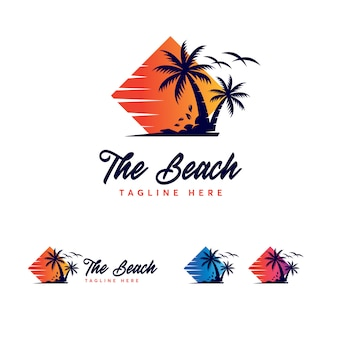 Modelo de logotipo de praia premium