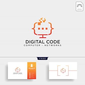 Modelo de logotipo de programação de código