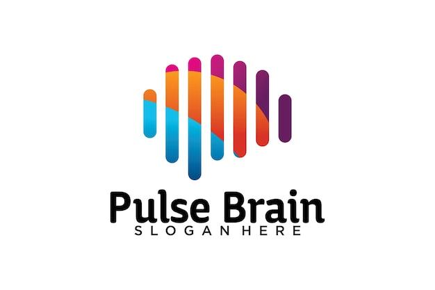 Modelo de logotipo de pulso de cérebro