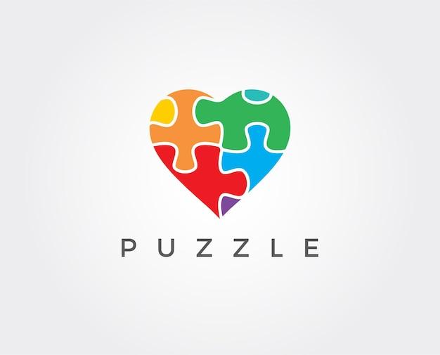 Modelo de logotipo de quebra-cabeça de coração