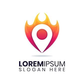 Modelo de logotipo de queimadura de pino