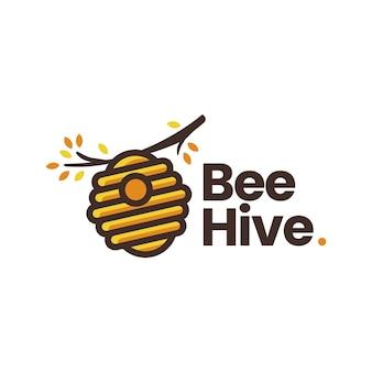 Modelo de logotipo de ramo de árvore de colmeia de abelhas