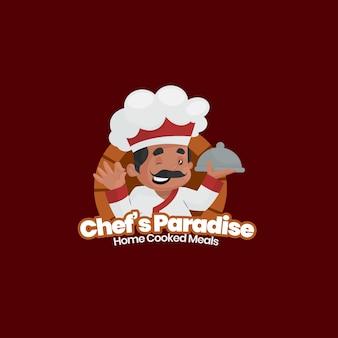Modelo de logotipo de refeições caseiras de chef indiano paraíso