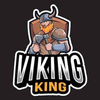 Modelo de logotipo de rei viking