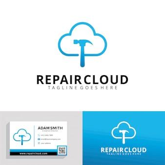 Modelo de logotipo de reparação de nuvem