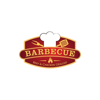 Modelo de logotipo de restaurante de churrasco