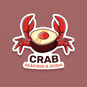 Modelo de logotipo de restaurante de frutos do mar com caranguejo