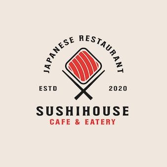 Modelo de logotipo de restaurante de sushi