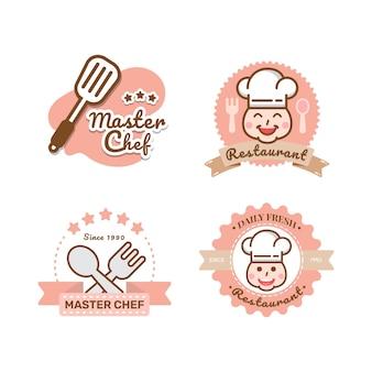 Modelo de logotipo de restaurante etiquetas de chapéus de chef