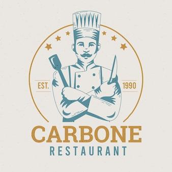 Modelo de logotipo de restaurante retrô