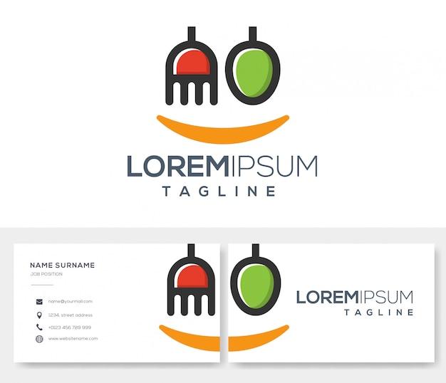 Modelo de logotipo de revisão de comida com design de cartão de visita