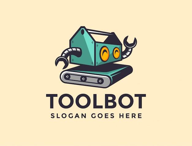 Modelo de logotipo de robô de caixa de ferramentas