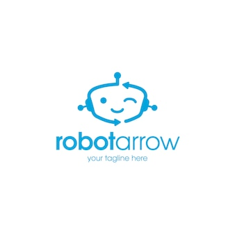Modelo de logotipo de robô feliz