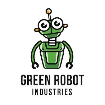 Modelo de logotipo de robô verde