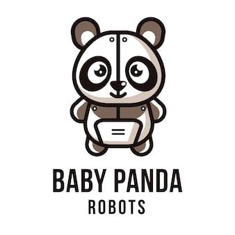 Modelo de logotipo de robôs bebê panda