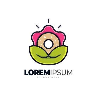Modelo de logotipo de rosquinhas de flores