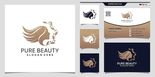 Modelo de logotipo de rosto de mulher de beleza com estilo de arte de linha e design de cartão de visita
