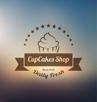 Modelo de logotipo de rótulo de cupcake