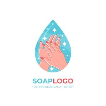 Modelo de logotipo de sabão com as mãos