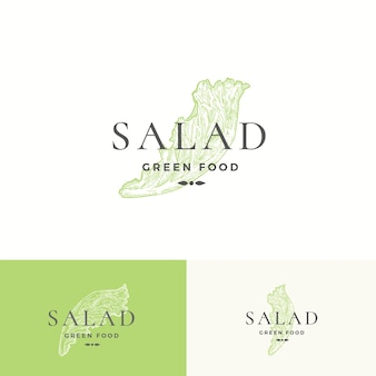 Modelo de logotipo de salada de alface.