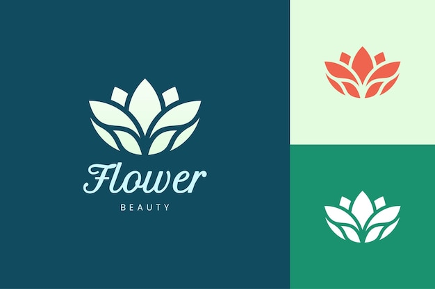 Modelo de logotipo de salão de beleza ou spa em forma de flor abstrata