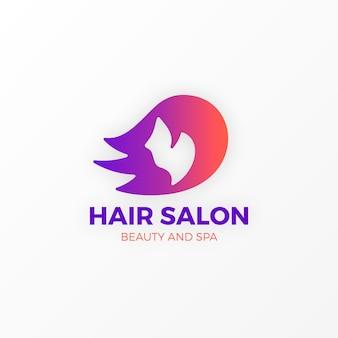 Modelo de logotipo de salão de cabeleireiro gradiente