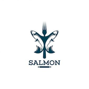 Modelo de logotipo de salmão.