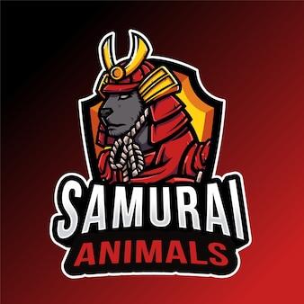 Modelo de logotipo de samurai animals