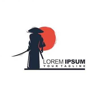 Modelo de logotipo de samurai