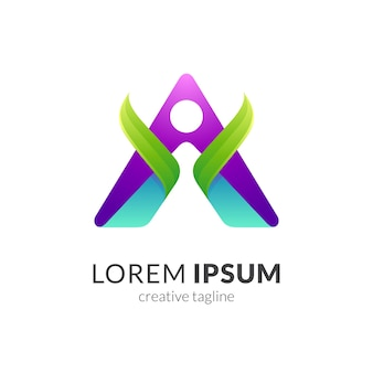 Modelo de logotipo de saúde humana Vetor Premium