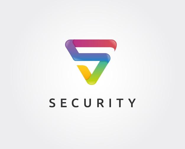 Modelo de logotipo de segurança de letras mínimas