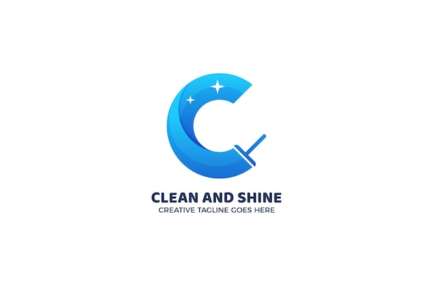 Modelo de logotipo de serviço de escova de limpeza com letra c azul