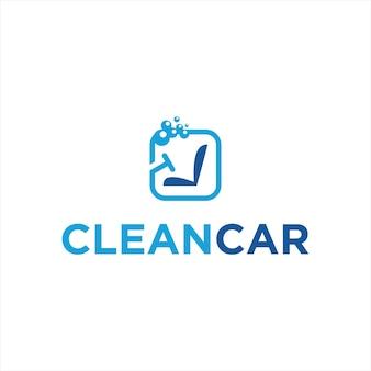 Modelo de logotipo de serviço de limpeza de interiores automotivos