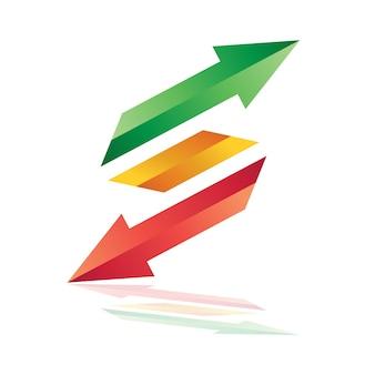 Modelo de logotipo de seta letra s, duplo logotipo de seta