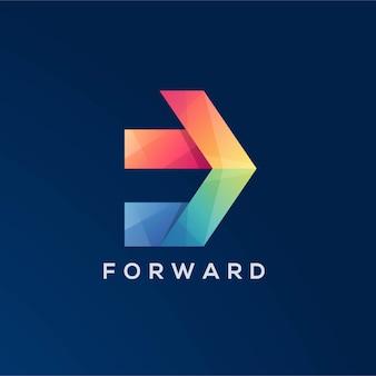 Modelo de logotipo de seta para a frente de espaço negativo colorido letra f