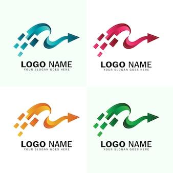 Modelo de logotipo de seta rápida