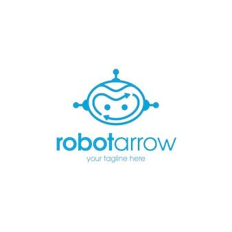 Modelo de logotipo de setas de robô