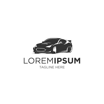 Modelo de logotipo de silhueta de carro esporte