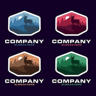Modelo de logotipo de silhueta de veado