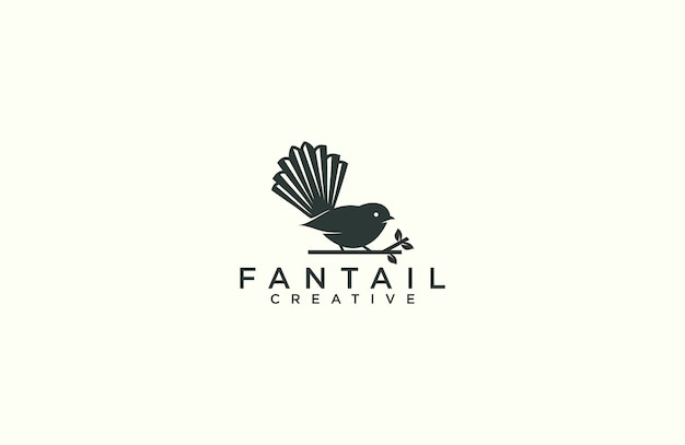 Modelo de logotipo de silhueta fantail