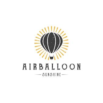 Modelo de logotipo de sol de balão de ar