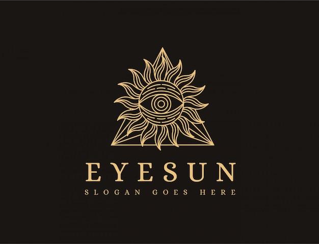 Modelo de logotipo de sol de olho