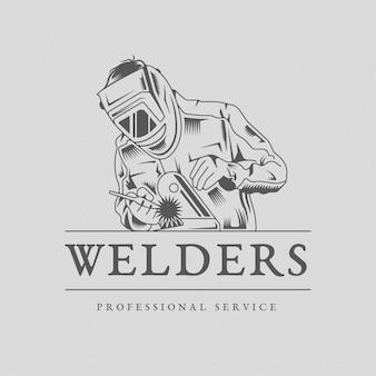 Modelo de logotipo de soldador detalhado