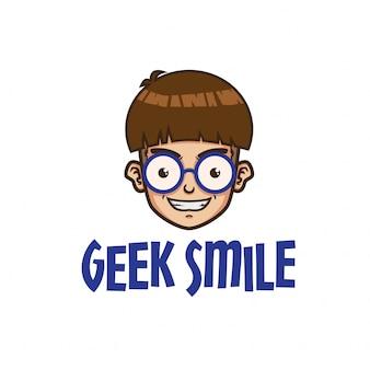 Modelo de logotipo de sorriso de geek