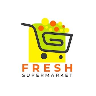 Modelo de logotipo de supermercado de carrinho compras