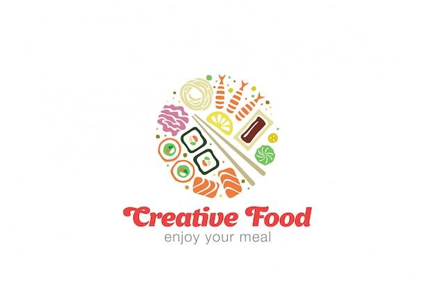 Modelo de logotipo de sushi japonês sashimi frutos do mar