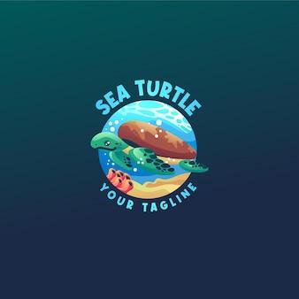 Modelo de logotipo de tartaruga marinha