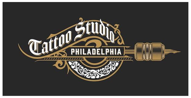 Modelo de logotipo de tatuagem vintage com elementos florais