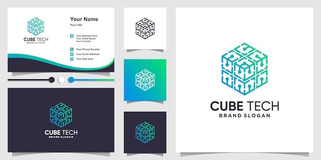 Modelo de logotipo de tecnologia abstrata com conceito de cubo