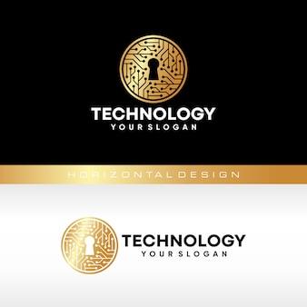 Modelo de logotipo de tecnologia chave. tecnologias digitais globais.